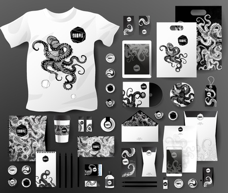 pen tablet: Abstract  business set with octopus. Corporate identity templates for seafood, with notebook, card, flag, T-shirt, disk, package,  label, envelope, pen, Tablet PC, Mobile Phone, matches, ink, pencil, paper cup, forms, folders for documents, invitation car