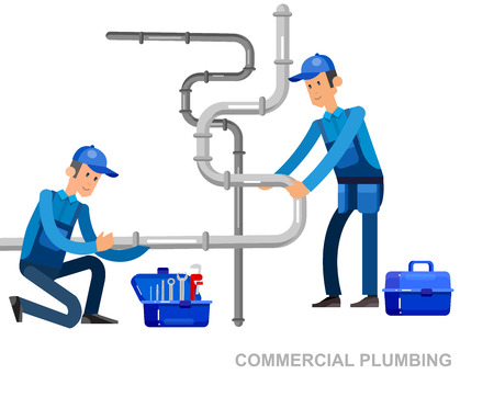 fix: detailed character proffesional plumber men set with repair professional fixing water pipes. Concept banner plumbing servise