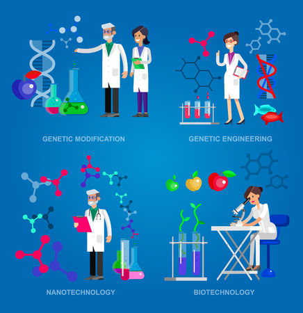 modification: detailed character men woman scientis, laboratory technician looking through a microscope, Biotechnology icons concept, composition of genetic engineering, nanotechnology and genetic modification Illustration