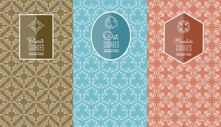 galleta de chocolate: logo sin fisuras con la etiqueta para galletas galletas, galletas de avena, envases de galletas de chocolate. ilustraci�n vectorial lineal Vectores