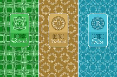 Jednolite logo z etykietą dla płatki owsiane, kasza gryczana, pakowania ryżu. Liniowy ilustracji wektorowych.
