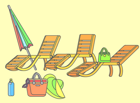 longue: beach chaise longue in different design, vector set illustration isolated on background