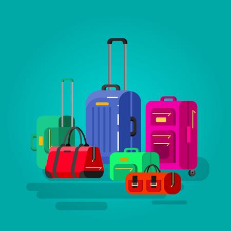 Reisetaschen in verschiedenen Farben. Gepäck Koffer und Tasche Vektorgrafik