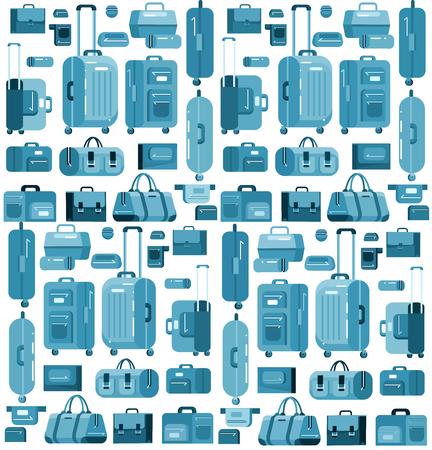 Sacs de voyage de différentes couleurs. Valise à bagages et sac. modèle d'illustration vectorielle détaillée cool