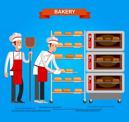 bakery oven: Vector detailed characters chef, Cook baker cooking bread, bakery interior with professional oven, flat design vector illustration