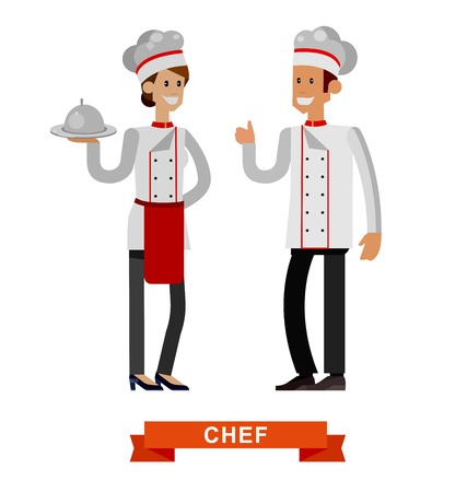professional chef: Vector detailed characters woman and man professional chef, Cook baker, flat design vector illustration isolated on white background. Illustration