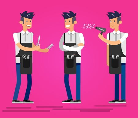 pinafore: Detailed character male smiling Barber. Illustration with gay hairdresser. Web banner template  for beauty saloon