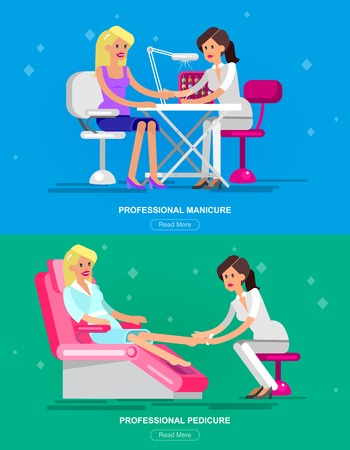 bodycare: Detailed Manicurist character makes a professional manicure and pedicure beautiful blond woman. Web banner template  for beauty saloon