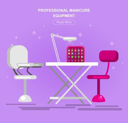 bodycare: Professional equipment for beauty salon, table for the pedicure. Detailed  interior, vector  illustration Illustration