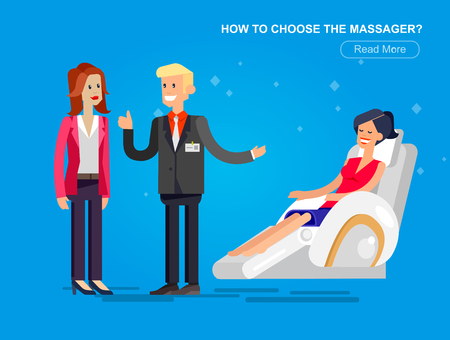 recline: Vector detailed character seller man sells massage chair. Woman buy massager and relax, cool flat  illustration Illustration