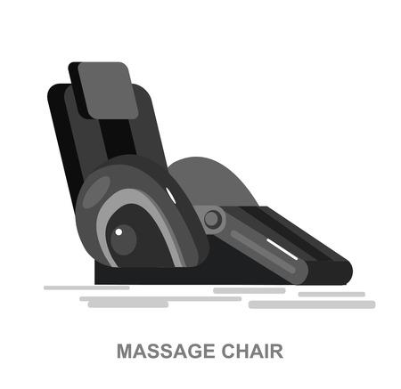 벡터 자세한 안마 의자, 휴식을위한 마사지, 흰색 배경에 고립 된 멋진 평면 그림입니다. 스톡 콘텐츠 - 56240402
