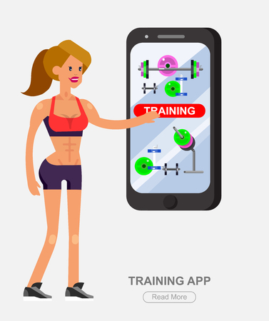 fitness equipment: Vector detailed character women bodybuilder with big smartphone. Traning app with fitness equipment, cool flat  illustration. Web banner template