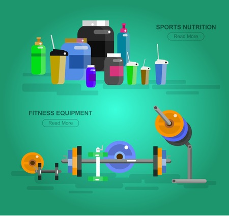 fitness equipment: Gym design concept with with fitness equipment and sports nutrition, cool flat  illustration. Web banner template