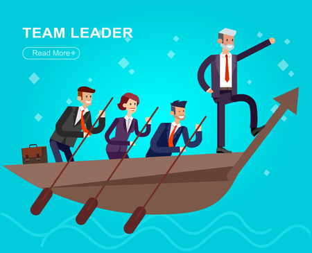 Vector detailed character businessman. Business concept, team moves to success. Man and woman sailing boat.
