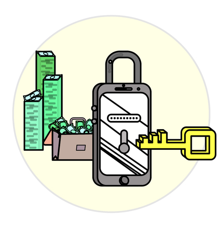 balaclava: Mobile security concept for smart phones. Vector illustration background with connected IT symbols