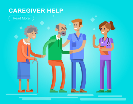 old people in care: Young man and women caregiwer, helping an old lady and old man. Elder people care and nursing. Vector detailed character flat design