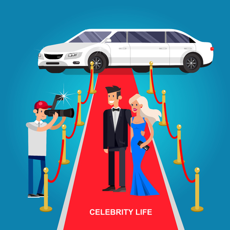 celebrities: Vector detailed character rich and beautiful celebrities, man in tails and blond woman in evening dress walking on a red carpet with limousine