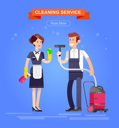dusting: Poster design for cleaning service and supplies. Vector detailed character professional housekeeper. Cleaning kit icons