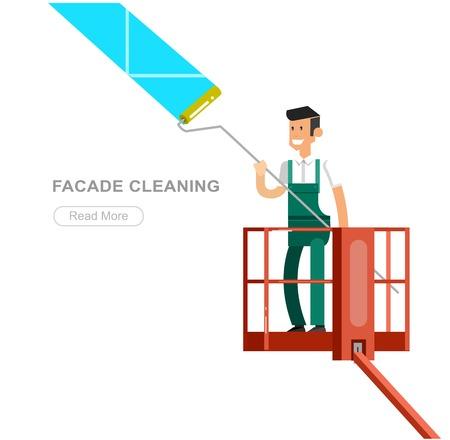 Illustration of a window washer cleaner cleaning a window. Vector detailed character men worker on lift
