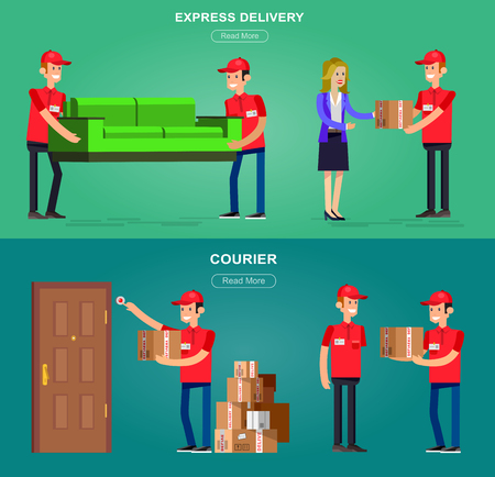 recipient: Funny Delivery character men Courier with a box at the door, handing the box to recipient, porters carry sofa, . Vector detailed illustration. Web banner illustration