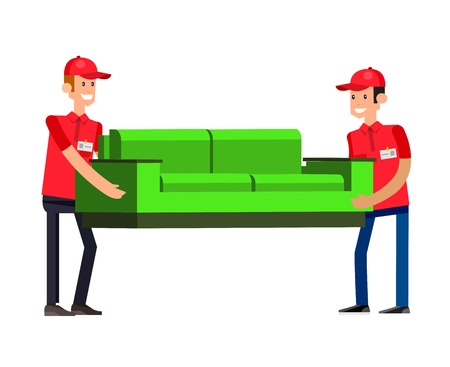 movers: Funny Delivery character man movers carry sofa. Vector detailed illustration isolated on white background.