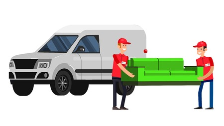 movers: Funny Delivery character man movers carry sofa in a truck. Vector detailed illustration isolated on white background. Illustration