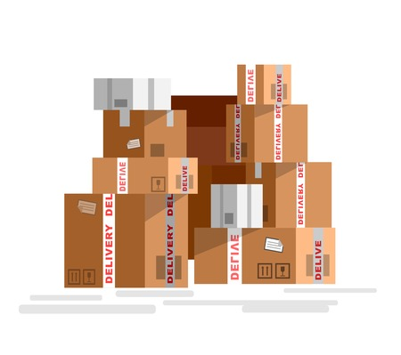 sealed: Pile of stacked sealed goods cardboard boxes. Detailed mail box isolated on white background.