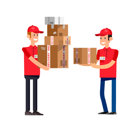 courier: Funny Delivery character boy Courier with a box . Vector detailed illustration isolated on white background. Illustration