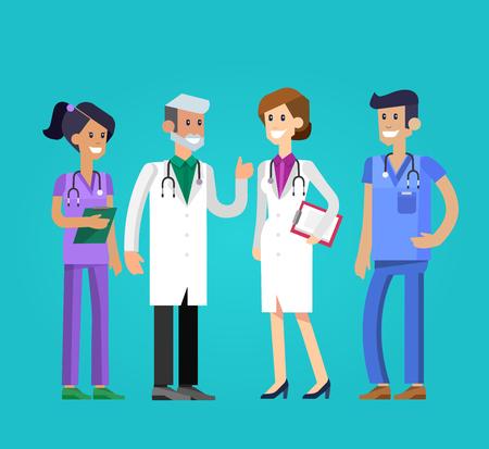 Wektor szczegóÅ,owy charakter lekarza czÅ,owieka, kobieta i pielę gniarka. Zespół medyczny