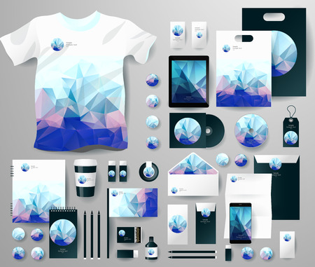 envelop: Abstract  business set in polygonal style. Corporate identity templates, notebook, card, flag, T-shirt, disk, package,  label, envelope, pen, Tablet PC, Mobile Phone, matches, ink, pencil, paper cup, forms, folders for documents, invitation card