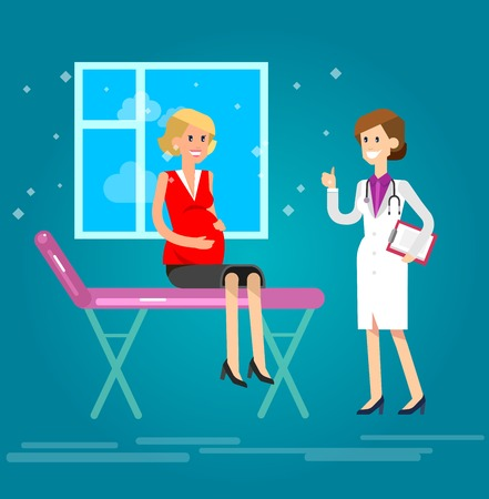 woman lying down: Vector detailed character happy pregnant woman having a doctor visit in hospital. Gynecologist woman indicates that everything is OK. Cool flat  illustration Illustration