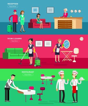 Personeel van het hotel en de service, receptie, schoonmaak en restaurant, gedetailleerde karakter portier, kamermeisje, chief fornuis, koel flat toerisme elementen Vector Illustratie