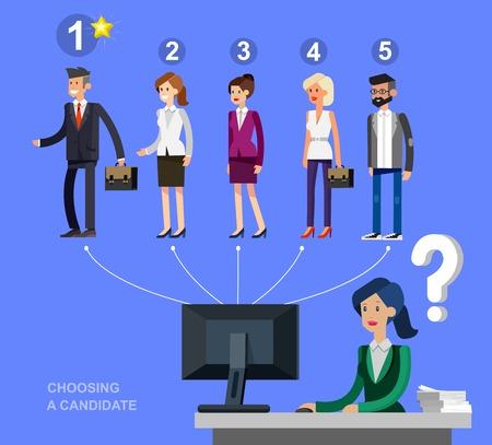 La contratación concepto de proceso con la selección de candidatos. Carácter vectorial detallada, ilustración plana fresco