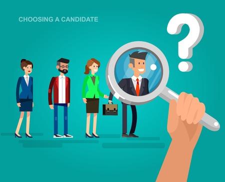 Het inhuren van proces concept met kandidaat-selectie. Vector gedetailleerde karakter, koele flat illustratie