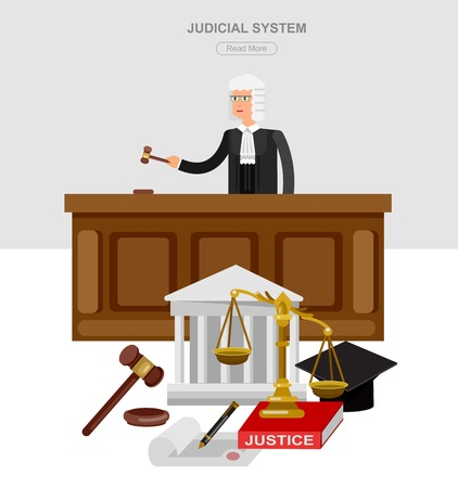 judiciary: Law horizontal banner set with judical system elements and Vector detailed character the judge and the lawyer, cool flat  illustration isolated vector