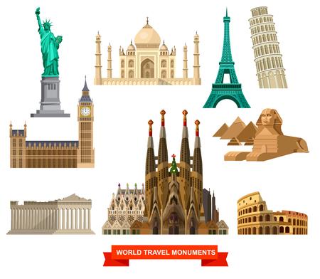 Hoge kwaliteit, gedetailleerde beroemdste wereld oriëntatiepunten Vrijheidsbeeld, Taj Mahal, de Eiffeltoren, Scheve toren van de Big Ben, het Parthenon, Egyptische Sfinx en de piramiden, het Colosseum, de kathedraal Familia Stock Illustratie