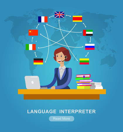 translator: Vector detailed character Language translator concept with woman sitting on table with laptop and world map with flags of the world languages, cool flat  illustration
