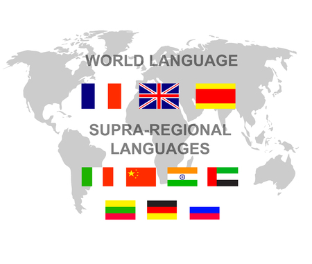 translator: Vector detailed character Language translator concept with world map and flags of the world languages, cool flat  illustration