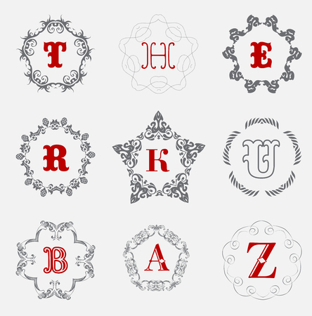 u k: Monogram template with  calligraphic elegant ornament. Identity design with H,R,K,U,B,A,Z letter for shop, store or restaurant, heraldic, barbershop or barber, beauty salon, justic lawyer, boutique or hotel