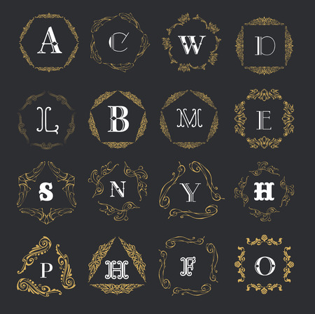 g p: Monogram template with  calligraphic elegant ornament. Identity design with letter P,D,E,C,G,O for shop, store or restaurant, heraldic, barbershop or barber, beauty salon, justic lawyer, boutique or hotel