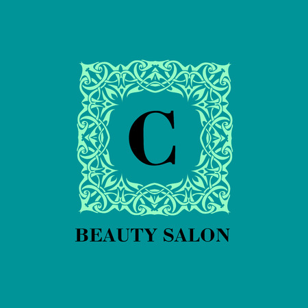 beauty shop: Monogram template with  calligraphic elegant ornament. Identity design with C letter for shop, store or restaurant, heraldic, barbershop or barber, beauty salon, justic lawyer, boutique or hotel Illustration
