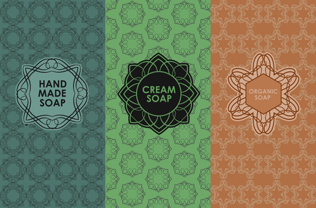 handmade soap: Vector set of templates packaging, label, banner, poster, identity, branding, logo icon, seamless pattern in trendy linear style for soup package - handmade, cream, organic soap