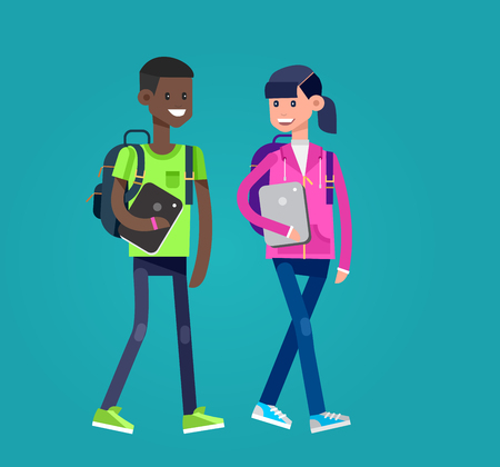 first class: Vector detailed character flat design children students boy and girl. Kids run, smiling, holding Gadgets and backpacks. Primary or elementary school