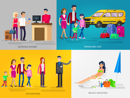 family holiday: Vector detailed character people in action for travel. Family summer holiday travel on car, Booking rooms in hotel, tour guide excursion , woman relaxing on a beach
