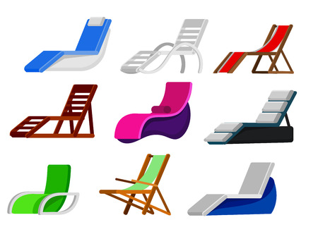 longue: wooden beach chaise longue different design vector set illustration isolated on background