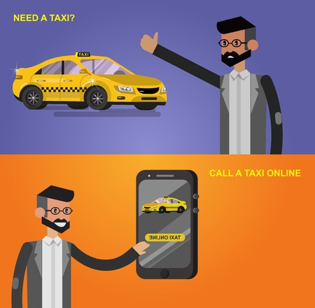user friendly: Vector detailed character men with phone taxi hire service application running, creative infographics design on public taxi service application featuring yellow modern taxi