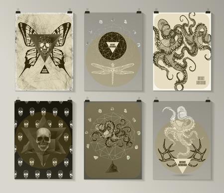 tattooed: Set of poster Illustration