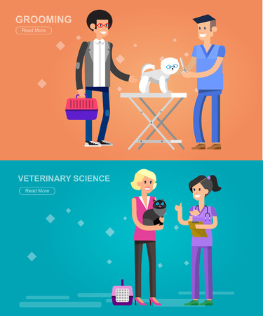 dog walker: high quality character design veterinarian with dog and cat, veterinarian inspects animal, veterinary icon set, veterinarian check up visiting walker training.