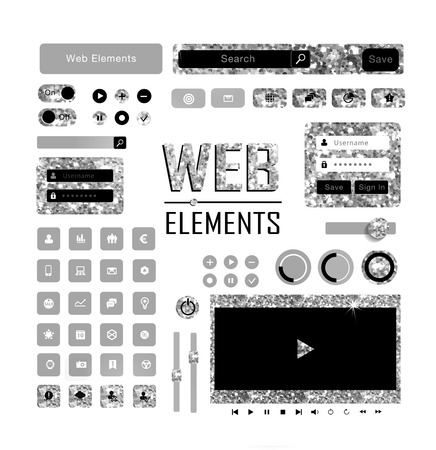 plat: Web elements of gold glittering stars . Golden collection.