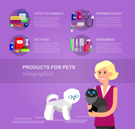 cat grooming: Infographic product for pets, high quality character design veterinarian with cat, pet shop. Pets accessories and vet store, grooming tools, veterinary pharmacy